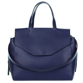 Gianni Chiarini Italian Made Navy Blue Leather Large Structured Tote Bag with Pockets