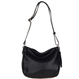 Robe di Firenze Italian Made Black Organically Treated Leather Crossbody Bag