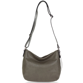 Robe di Firenze Italian Made Taupe Gray Organically Treated Leather Crossbody Bag