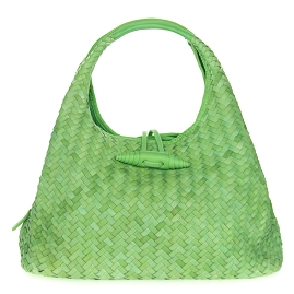 Paolo Masi Italian Made Pale Green Hand Woven Leather Purse Handbag