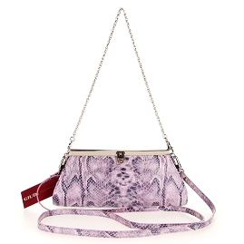 Guidi Italian Made Lilac Patent Snakeskin Embossed Leather Evening Bag Clutch