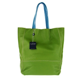 Arcadia Italian Made Green Calf Leather Oversize Designer Shopper Tote Bag