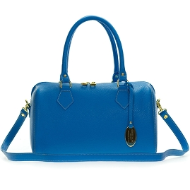 Giordano Italian Made Bright Azure Blue Leather Structured Satchel Handbag