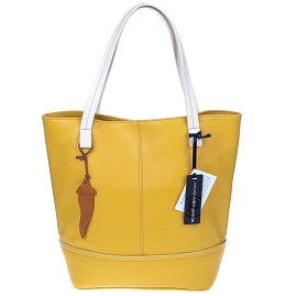 Roberta Gandolfi Italian Made Mustard Yellow Pebbled Leather Tote Bag - / CLEARANCE /