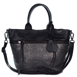 Gianni Chiarini Italian Made Lead & Black Leather Medium Tote Handbag - / CLEARANCE /