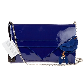 Roberta Gandolfi Italian Made Navy Blue Patent Leather Evening Bag Clutch - / CLEARANCE /