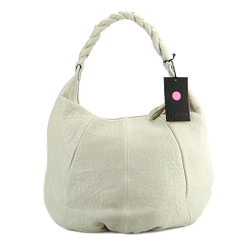 IO Pelle Italian Designer Light Gray Leather Large Hobo Bag With Pouch