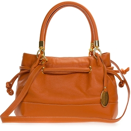 Giordano Italian Made Orange Leather Drawstring Satchel Handbag
