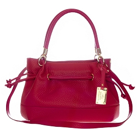 AURA Italian Made Red Leather Large Drawstring Tote