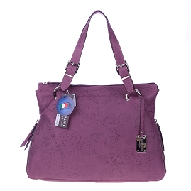 Giordano Italian Made Violet Flower Embossed Leather Tote Handbag