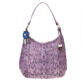 Giordano Italian Made Lilac Snakeskin Embossed Patent Leather Hobo Bag