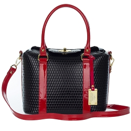 AURA Italian Made Black Patent Leather Structured Tote Handbag