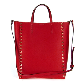 Asia Bellucci Italian Made Red Leather Large Structured Designer Studded Tote - / CLEARANCE /