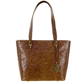 Giordano Italian Made Floral Embossed Leather Tote