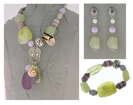 Italian Fashion Jewelry Set: Necklace, Earrings, Bracelet - Antille1