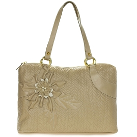 Braccialini Italian Made Beige Leather Tote Handbag with Flower