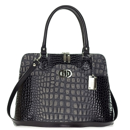 Giordano Italian Made Black & Gray Crocodile Embossed Leather Tote Handbag