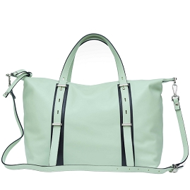 Caterina Lucci Italian Made Pistachio Green Leather Carryall Tote