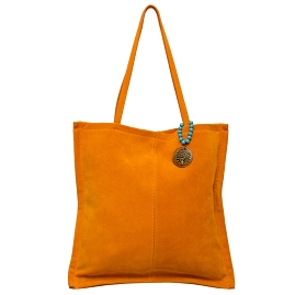 Carla G Italian Made Orange Suede Tote Bag