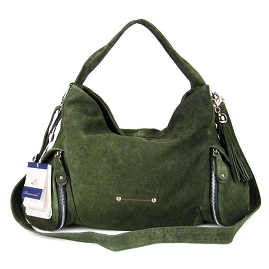 Bruno Rossi Italian Shoulder Hobo Bag Handbag In Green Nubuck Leather - / CLEARANCE /
