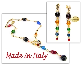 Italian Designer Venetian Murano Jewelry Set: Necklace And Earrings