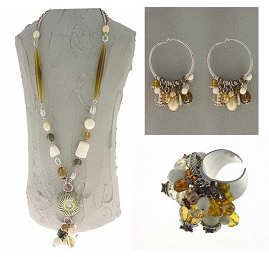 Italian Fashion Jewelry Set: Necklace, Earrings, Ring - Fiji2