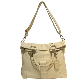 Medigriffe Italian Made Cream Leather Convertible Handbag Shoulder Bag - / CLEARANCE /