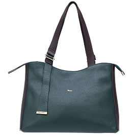 Bruno Rossi Italian Made Dark Green Pebbled Leather Large Tote Bag