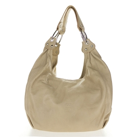 Cosette Italian Made Beige Soft Leather Slouchy Hobo Shoulder Bag