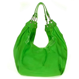 Cosette Italian Made Green Soft Leather Slouchy Hobo Shoulder Bag - /CLEARANCE/