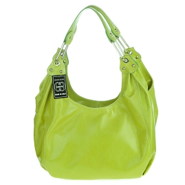 Cosette Italian Made Lime Green Glazed Leather Designer Hobo Bag - /CLEARANCE/