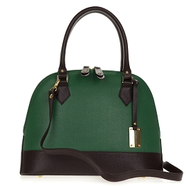 Giordano Italian Made Green and Brown Leather Structured Tote Handbag - / CLEARANCE /