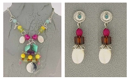 Italian Fashion Jewelry Set: Necklace And Earrings - Stromboli1