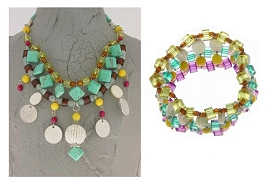 Italian Fashion Jewelry Set: Necklace And Bracelet - Stromboli3