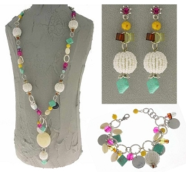 Italian Fashion Jewelry Set: Necklace, Earrings, Bracelet - Stromboli4