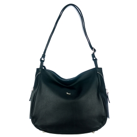 Bruno Rossi Italian Made Black Calf Leather Side Zip Shoulder Bag