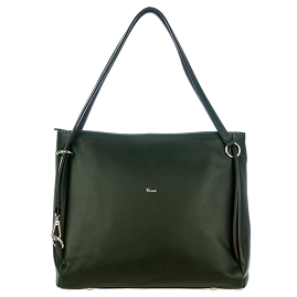 Bruno Rossi Italian Made Dark Green Calf Leather Carryall Tote Bag