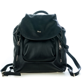 Bruno Rossi Italian Made Black Calf Leather Women's Backpack
