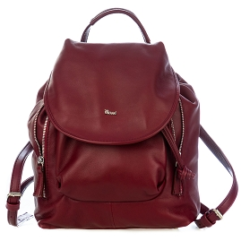 Bruno Rossi Italian Made Cherry Red Calf Leather Women's Backpack