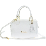 Braccialini Italian Made White Crocodile Embossed Leather Small Tote Bag