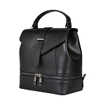 Parentesi Italian Made Black Leather Structured Women's Backpack Bag