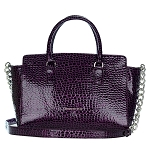 Patrizia Pepe Italian Made Purple Patent Leather Shopper Tote