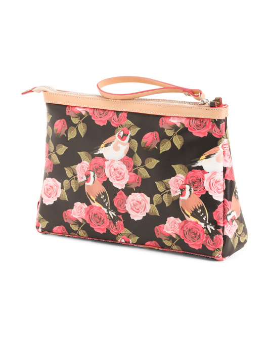 a06ce2bb1fbd Cavalcanti Large Makeup Bag in Floral Print Leather Made in Italy