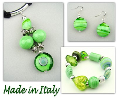 Italian Venetian Murano Jewelry Set: Circle Pendant Necklace, Bracelet And Earrings - Green