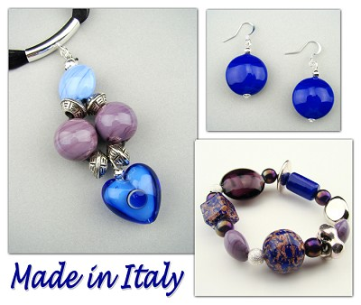 Italian Venetian Murano Jewelry Set: Heart Necklace, Bracelet And Earrings - Dark Blue