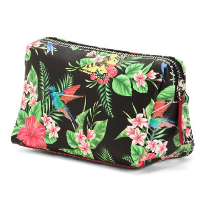 Cavalcanti Italian Made Small Makeup Bag in Floral Black