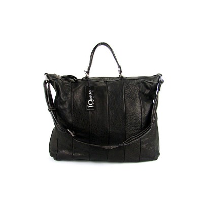 IO Pelle Italian Black Leather Handbag Shoulder Bag Briefcase - / CLEARANCE /