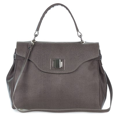 Roberta Gandolfi Italian Made Dove Gray Embossed Leather Carryall Tote Handbag