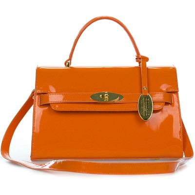Giordano Italian Made Orange Patent Leather Small Structured Handbag - /CLEARANCE/