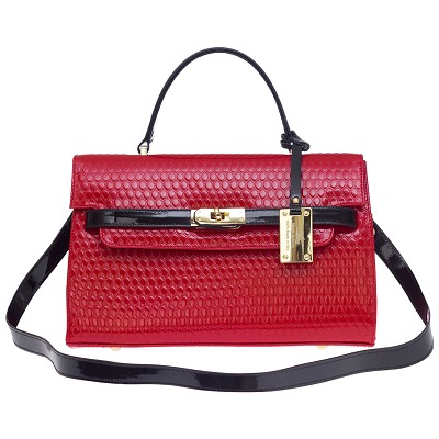 AURA Italian Made Red Embossed Leather Small Structured Handbag